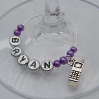 Mobile Phone Wine Glass Charms